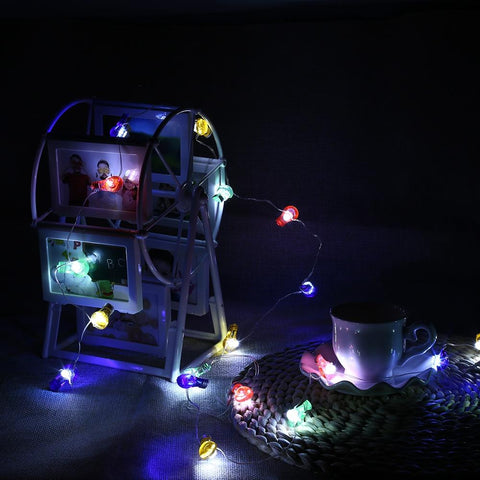Bulb Shaped Cooper Wire String Light (2M 20 LEDs Lamp)-Decorative String Light-COLORFUL-Khadiza Electricals