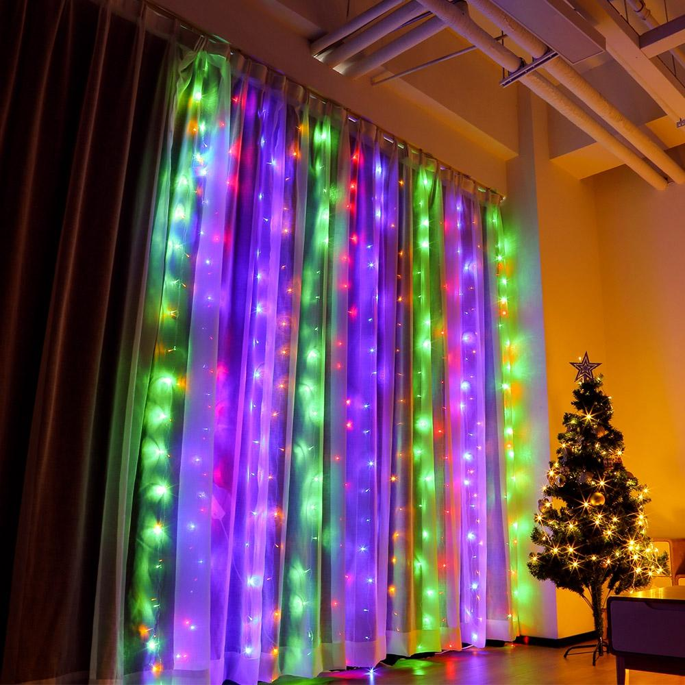 Window Curtain String Light for Decoration (3 x 3m 304 LEDs)-Decorative String Light-MULTI / US-Khadiza Electricals