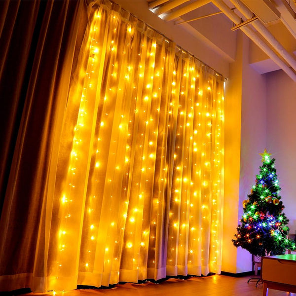 LED Window Curtain String Light for Decoration-Decorative String Light-WARM WHITE / US-Khadiza Electricals