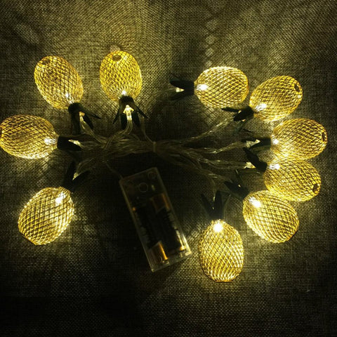 Golden Pineapple LED String Lights For Home Decor-Decorative Strip Light-GOLD / 10 LEDS-Khadiza Electricals