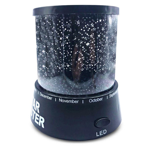 Fantasy Romantic Lamp Starry Sky Rotating Star Projector Night Light BLACK