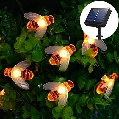 Solar Powered Cute Honey Bee Ladybug Led String Light-Decorative Solar String Light-Bee / 6.5M 30LED-Khadiza Electricals