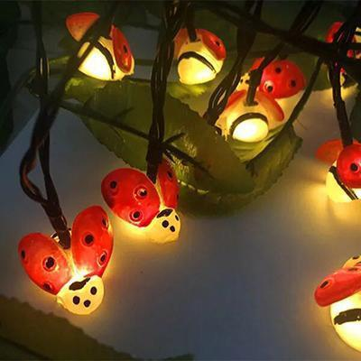Solar Powered Cute Honey Bee Ladybug Led String Light-Decorative Solar String Light-Ladybug / 6.5M 30LED-Khadiza Electricals