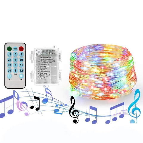 Waterproof String Light With Sound Sensor for Decoration (20 Meters, 200 LED)