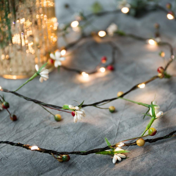 Flower & leaf garland Starry fairy string lights for Christmas-Decorative String Light-Warm White / 10M-Khadiza Electricals