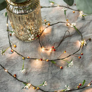 Flower & leaf garland Starry fairy string lights for Christmas