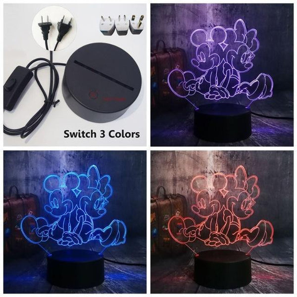 3D Minnie LED Night Light (7 Color Changing, USB Powered) Switch One 3 Color12 / China13