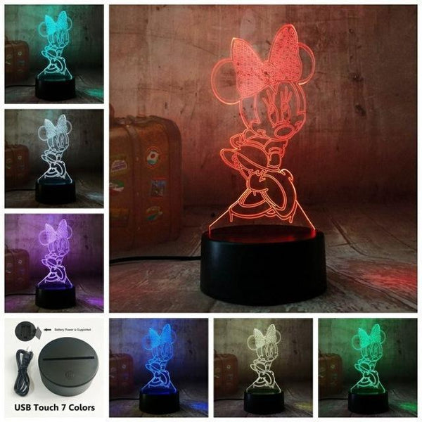 3D Minnie LED Night Light (7 Color Changing, USB Powered) Touch One 7 Color / China