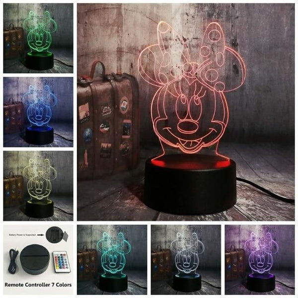 3D Minnie LED Night Light (7 Color Changing, USB Powered) Controller 7 Color8 / China9