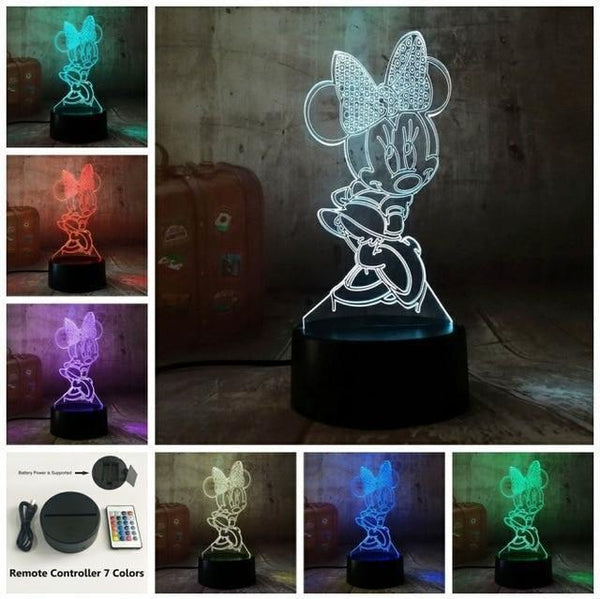 3D Minnie LED Night Light (7 Color Changing, USB Powered) Controller 7 Color / China