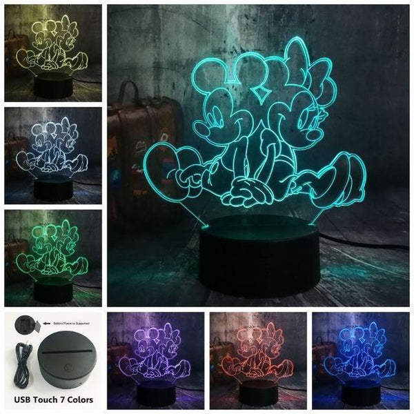 3D Minnie LED Night Light (7 Color Changing, USB Powered) Touch One 7 Color16 / China17