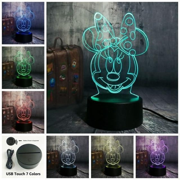3D Minnie LED Night Light (7 Color Changing, USB Powered) Touch One 7 Color4 / China5