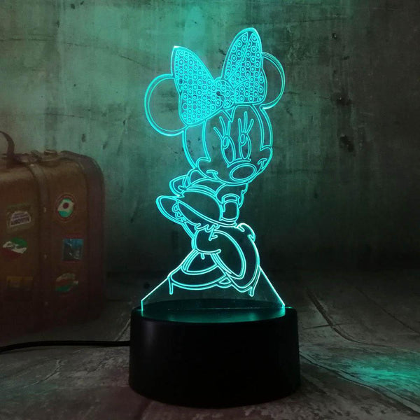 3D Minnie LED Night Light (7 Color Changing, USB Powered)