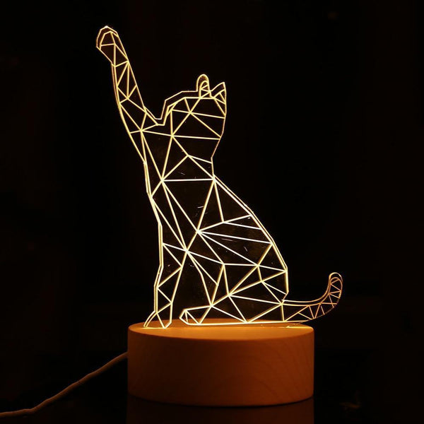 LED Cat Night Lamp with USB Charging (3D)-Decorative Night Lamp-[variant_title]-Khadiza Electricals