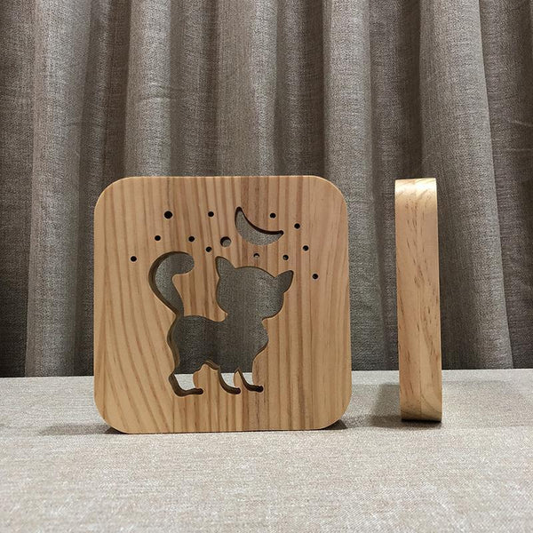 Wooden Cat Shadow Night Lamp (3D)-Decorative night Lamp-[variant_title]-Khadiza Electricals