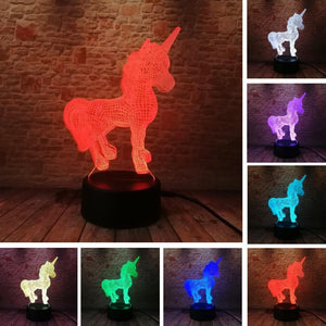 Unicorn Night  Lamp With Touch Switch(3D Hologram Illusion)-Decorative Night Lamp-[variant_title]-Khadiza Electricals