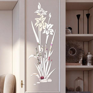 Lotus Flower Removable Mirror Wall Sticker for Home Decor (DIY)-Non Electric Home Decor-Silver / United States-Khadiza Electricals