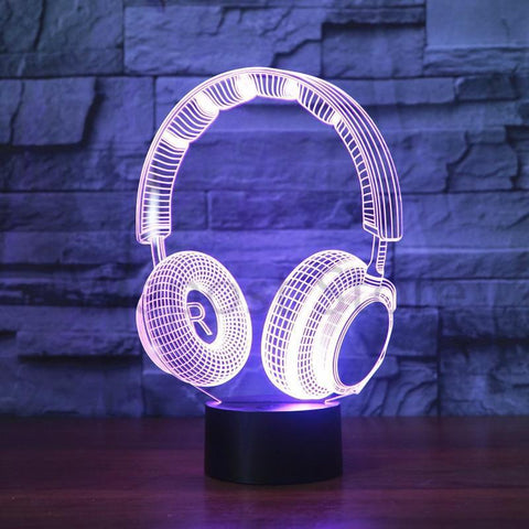 Color Changing Headphone Designed 3D Effect Night Lamp with Touch Control Changeable