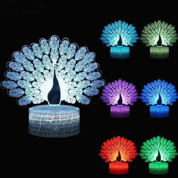 LED Peacock Night Lamp with Touch Switch and Seven Colors-Decorative Night Lamp-Style3-Khadiza Electricals