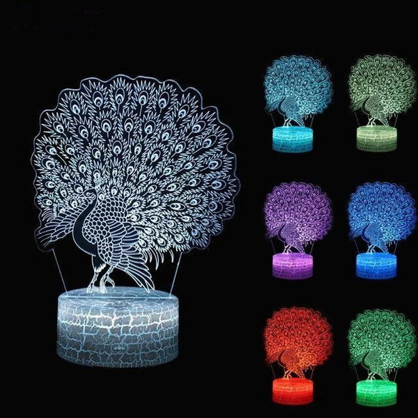 LED Peacock Night Lamp with Touch Switch and Seven Colors-Decorative Night Lamp-Style1-Khadiza Electricals