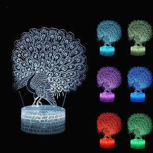 LED Peacock Night Lamp with Touch Switch and Seven Colors