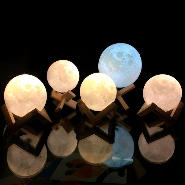 Wooden Base 3D Touch Switch Moon Globe Night Lamp (2 Colors)-Decorative Night Lamp-[variant_title]-Khadiza Electricals