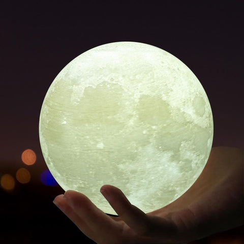 Wooden Base 3D Touch Switch Moon Globe Night Lamp (2 Colors)