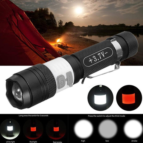 20000Lm USB Rechargeable 3-Mode LED Flashlight Clip Torch Zoom Light