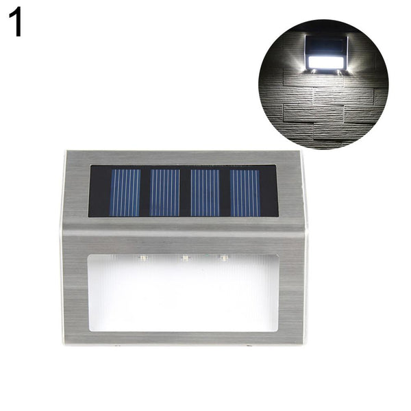 3 LED Solar Stainless Steel Light for Light Outdoor Path/ Floor/ Garden/ Stair Pure White