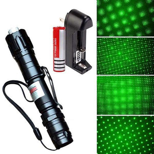 Powerful Green Laser Pointer Pen Beam Light (5mW Lazer Power 532nm+18650+Charger)