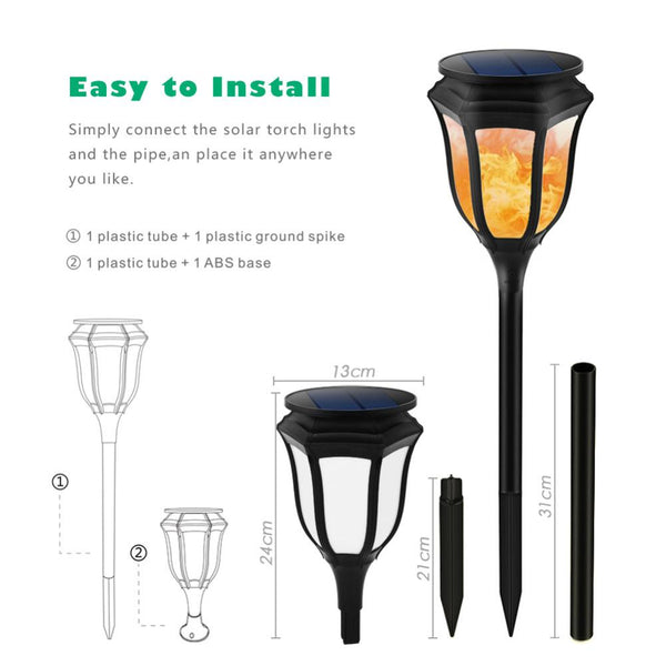 Waterproof Solar Powered LED Hexagon Flame Lamp