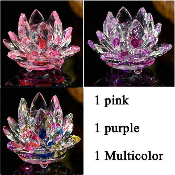 Quartz Crystal Lotus Flower Paperweight for Home Decor-Non Electric Home Decor-3 PCS 3-Khadiza Electricals