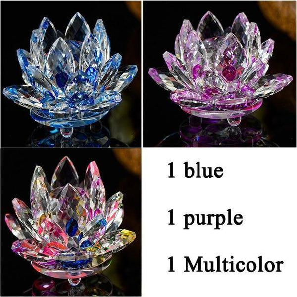 Quartz Crystal Lotus Flower Paperweight for Home Decor-Non Electric Home Decor-3 PCS 7-Khadiza Electricals