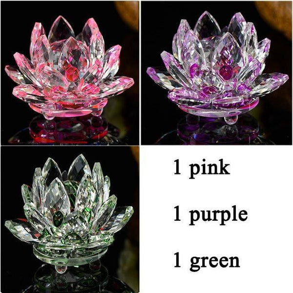 Quartz Crystal Lotus Flower Paperweight for Home Decor-Non Electric Home Decor-3 PCS 2-Khadiza Electricals