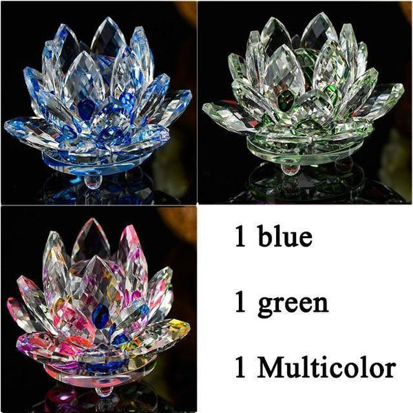 Quartz Crystal Lotus Flower Paperweight for Home Decor-Non Electric Home Decor-3 PCS 9-Khadiza Electricals