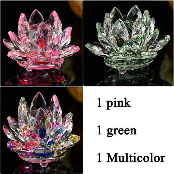 Quartz Crystal Lotus Flower Paperweight for Home Decor-Non Electric Home Decor-3 PCS 4-Khadiza Electricals