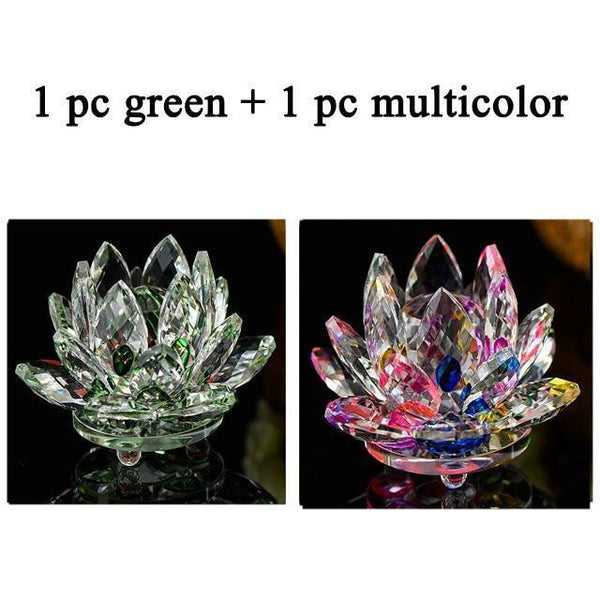 Quartz Crystal Lotus Flower Paperweight for Home Decor-Non Electric Home Decor-2 PCS-Khadiza Electricals