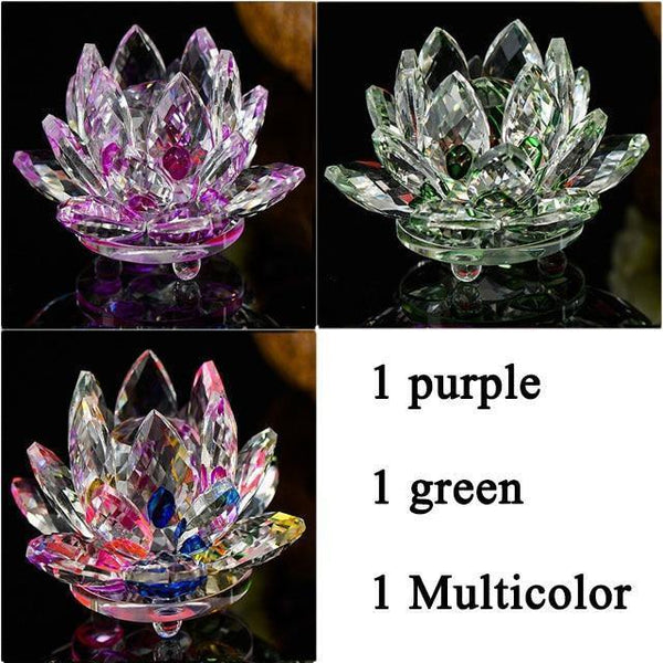 Quartz Crystal Lotus Flower Paperweight for Home Decor-Non Electric Home Decor-3 PCS-Khadiza Electricals
