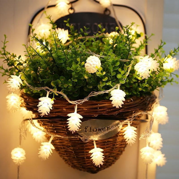 Pinecone LED String fairy light-Decorative String Light-White / 165cm 10leds-Khadiza Electricals
