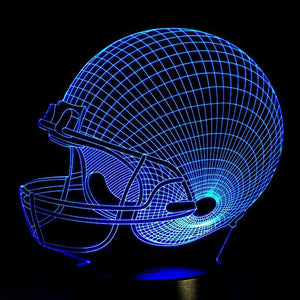 Baseball Helmet  Night  Lamp With Touch Switch(3D Hologram Illusion)-Decorative Night Lamp-[variant_title]-Khadiza Electricals