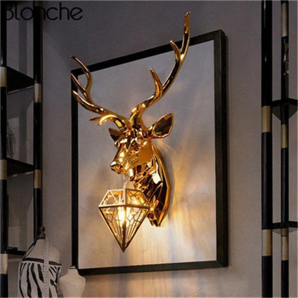 Classic Gold Deer Wall Lamp with Antlers