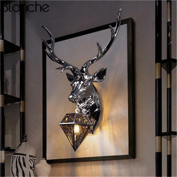 Classic Gold Deer Wall Lamp with Antlers-Decorative Wall Lamp-Silver / Big Size-Khadiza Electricals