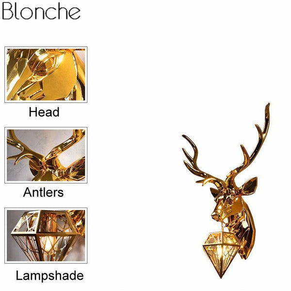 Classic Gold Deer Wall Lamp with Antlers-Decorative Wall Lamp-[variant_title]-Khadiza Electricals