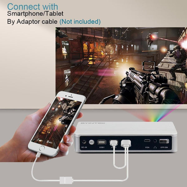 Smart Portable LED WIFI Projector (Full HD 1080P, Android)
