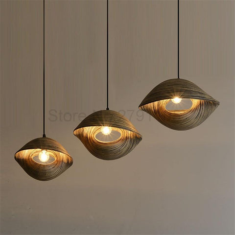 Bamboo Weaving Seashell Pendant Lamp