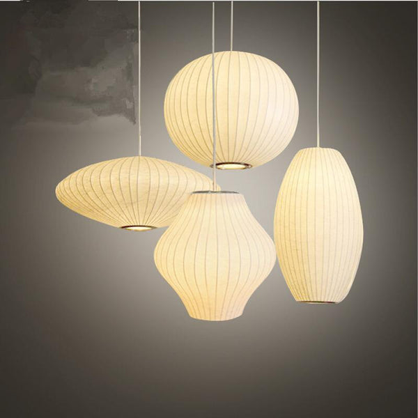 Bubble Saucer Pendant Lamp Made of  White Silk Cloth