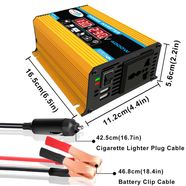 Car Inverter (Converts DC 12V to AC 110V/220V, Max 4000W)