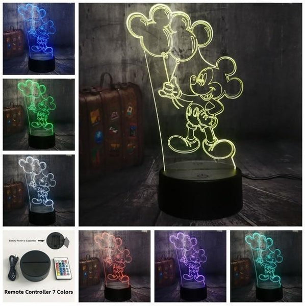 3D Mickey LED Night Light-Decorative Night Lamp-Remote one 7 Color8 / China9-Khadiza Electricals