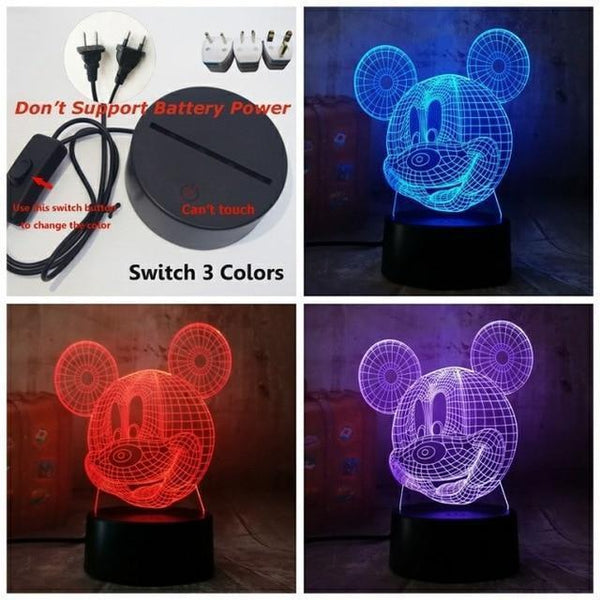 3D Mickey LED Night Light-Decorative Night Lamp-Switch one 3 Color12 / China13-Khadiza Electricals