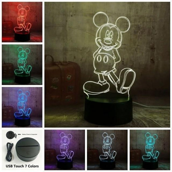 3D Mickey LED Night Light-Decorative Night Lamp-Touch one 7 Color / China-Khadiza Electricals